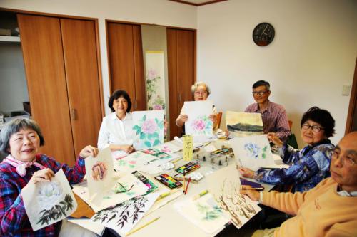 水墨画教室のメンバー達